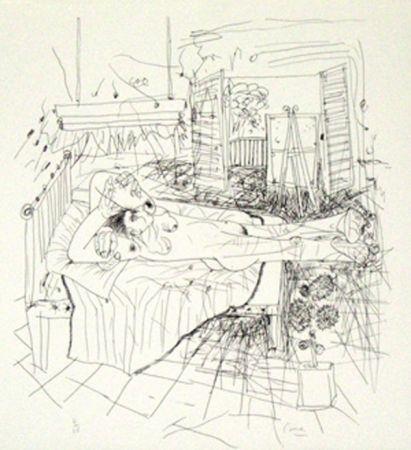 Lithographie Cane - Femme sur un lit