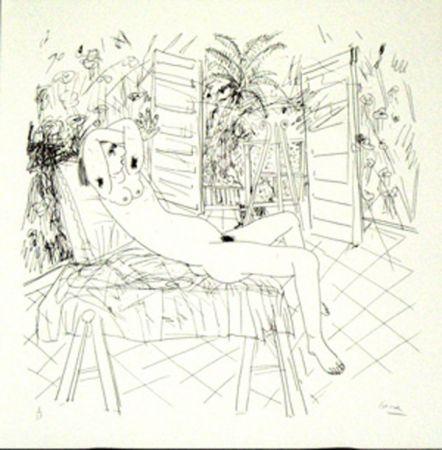 Lithographie Cane - Femme sur une chaise