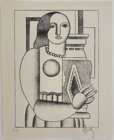 Lithographie Leger - Femme tenant un Vase