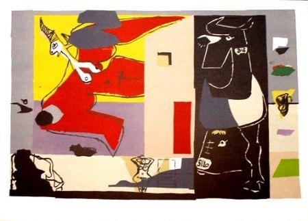 Lithographie Le Corbusier - Femme Unicorne et Taureau Noir