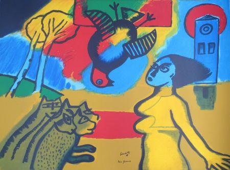 Lithographie Corneille - Femme,oiseau,chats.