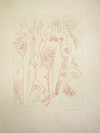 Gravure Masson - Femmes aux masques