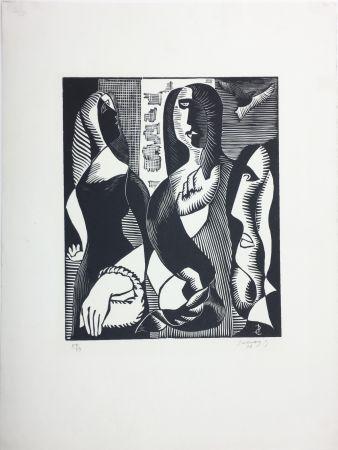 Gravure Sur Bois Survage - Femmes Cubistes (Paris, 1933)