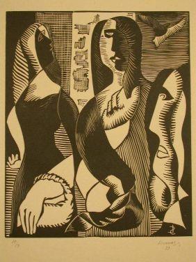 Gravure Sur Bois Survage - Femmes Cubistique