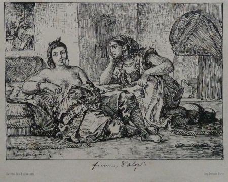 Lithographie Delacroix - Femmes d`Algers