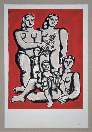 Sérigraphie Leger - Femmes et enfants a l'accordeon