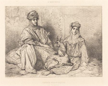 Gravure Chassériau - Femmes mauresques (de Constantine)