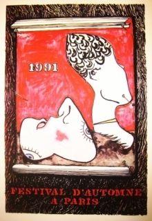 Lithographie Johns - Festival d'automne à Paris 1991