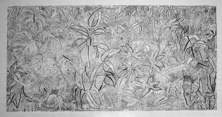 Linogravure Larrouturou - Feuilles