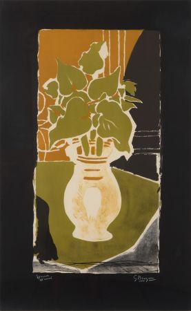 Lithographie Braque - Feuilles Couleur Lumière