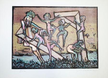 Linogravure Maccari - Figure
