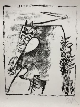 Lithographie Lam - Figure blanche et noire