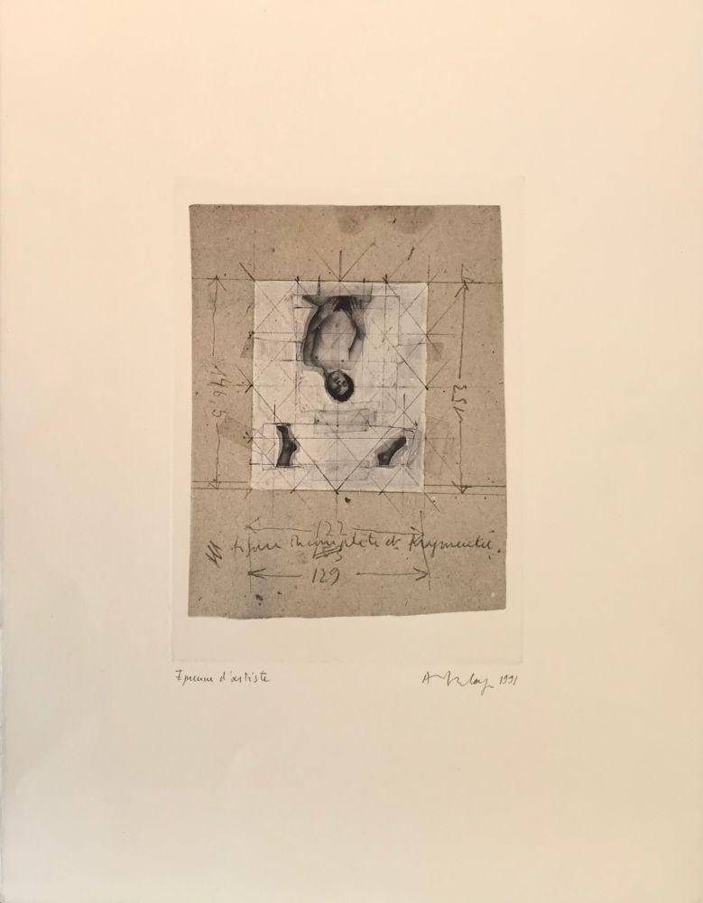 Sérigraphie Delay - Figure incomplète et fragmentée, 1991