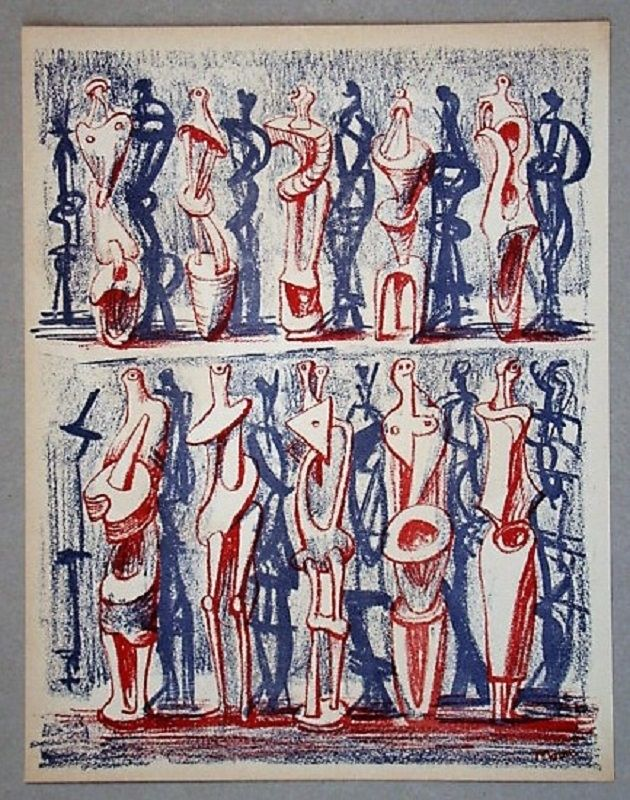 Lithographie Moore - Figures and shadows