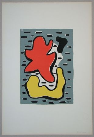Sérigraphie Leger - Figures rouge et jaune, 1950