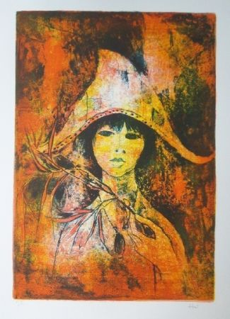 Lithographie Lebadang - Fille au chapeau
