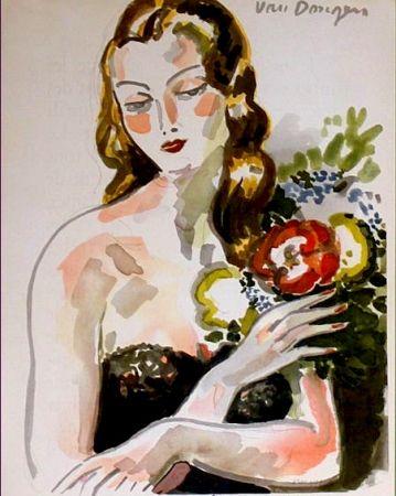 Lithographie Van Dongen - Fille au Fleurs