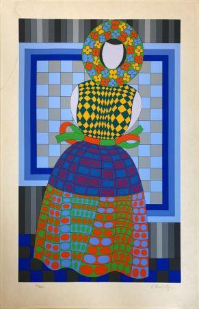 Sérigraphie Vasarely - Fille Fleur