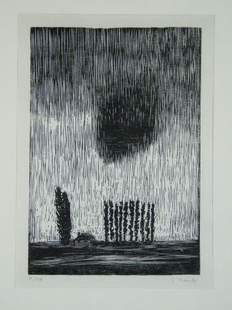 Gravure Sur Bois Marcks - Finstere Wolke (Dark Cloud)