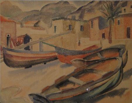 Monotype Fleischmann - (Fischerboote am Strand eines Ortes am Mittelmeer)