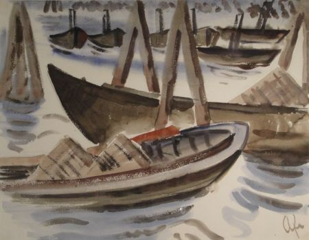 Monotype Fleischmann - Fischerboote im Hafen