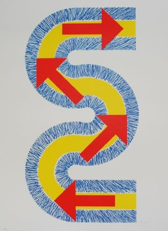 Lithographie Sugai - Flèches rouges