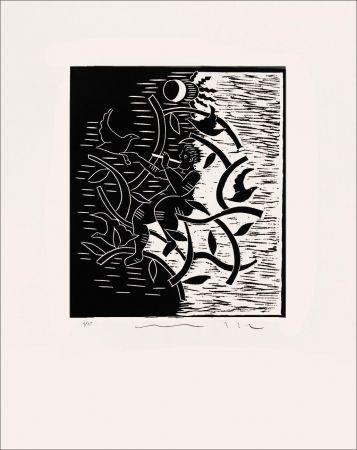 Linogravure Del Re - Flûte noire