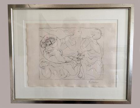 Lithographie Picasso - Flûtiste et trois Femmes nues' de la 'Suite Vollard', 1932