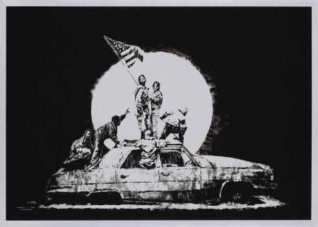 Sérigraphie Banksy - FLAG (SILVER)