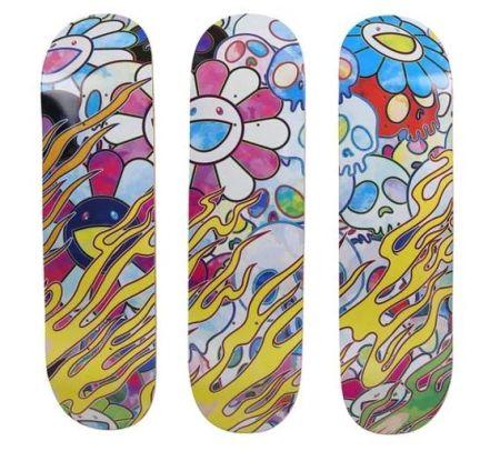 Aucune Technique Murakami - Flaming Skulls (skateboard deck)