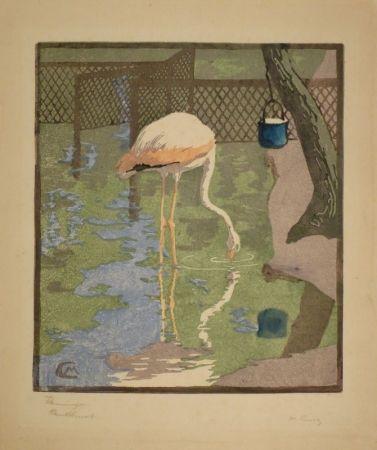 Gravure Sur Bois Cunz - Flamingo