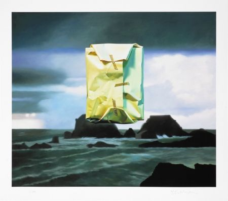 Estampe Numérique Edelmann - Flashlighted floate parcel in stormy ocean and sky
