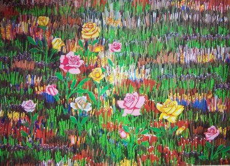 Lithographie Pavlos - Fleurs