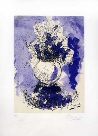 Lithographie Braque - Fleurs a L'Aquarelle (1957)