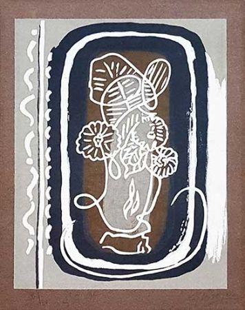 Gravure Sur Bois Braque - Fleurs blanches