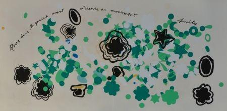 Lithographie Baj - Fleurs dans la prairie