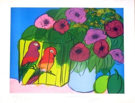 Lithographie Ting - Fleurs et perroquets