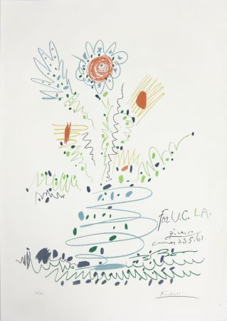 Lithographie Picasso - Fleurs (for UCLA)