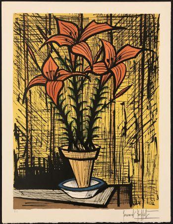 Lithographie Buffet - Fleurs oranges dans un pot