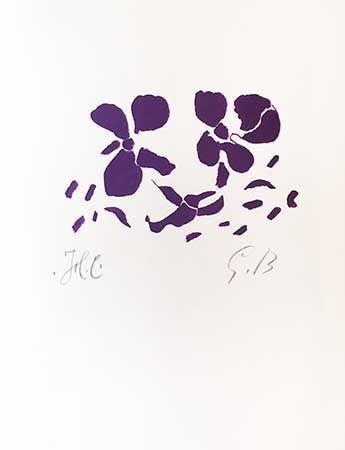 Gravure Sur Bois Braque - Fleurs violettes