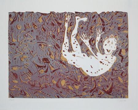 Linogravure Dahms - Fliegender / Flying Man