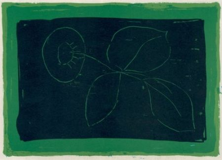 Lithographie Hernandez Pijuan - Flor sobre negre / Flower on Black