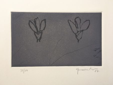 Gravure Hernandez Pijuan - Flores sobre gris