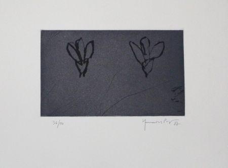 Eau-Forte Et Aquatinte Hernandez Pijuan - Flors sobre gris / Flowers on Gray