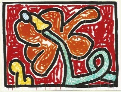 Sérigraphie Haring - Flower # 5