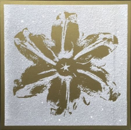 Sérigraphie Robierb - Flower Power (Gold on White)