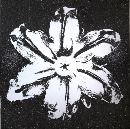 Sérigraphie Robierb - Flower Power (Silver on Black)