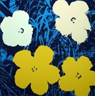 Sérigraphie Warhol (After) - Flowers blue white