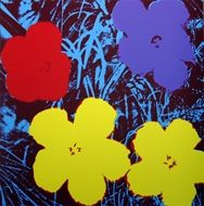 Sérigraphie Warhol - Flowers blue yellow