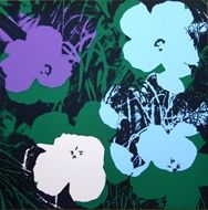 Sérigraphie Warhol (After) - Flowers green purple